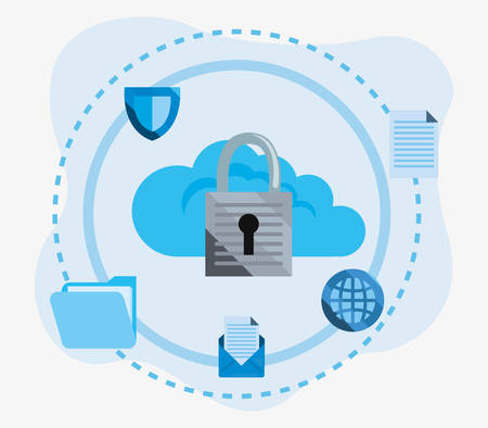 padlock cloud computing shield folder global cybersecurity data protection vector illustration