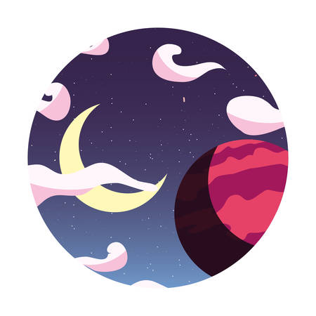 moon planet cloud sky space vector illustration