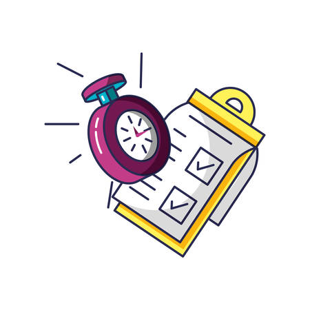 chronometer time with checklist clipboard vector illustration design