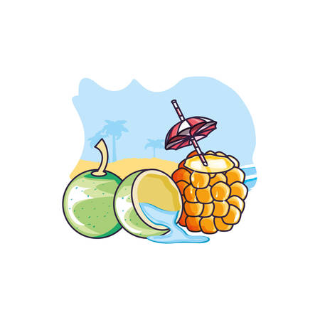 cocktail of pineapple in the beach with coconut vector illustration design