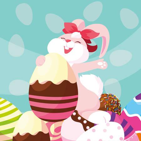 female rabbit with eggs of easter vector illustration design Ilustração