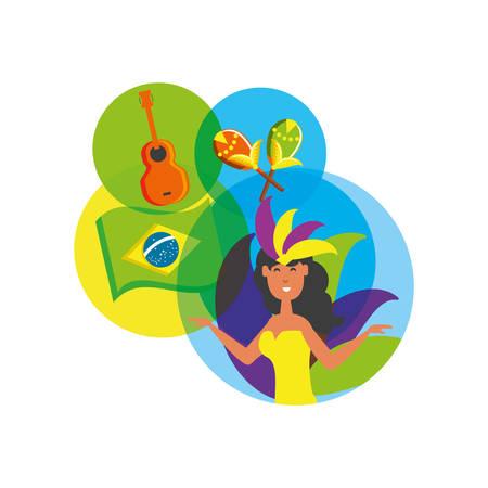 woman brazilian dancer with set icons vector illustration design