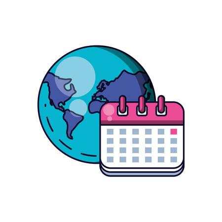 calendar reminder date with planet earth vector illustration design