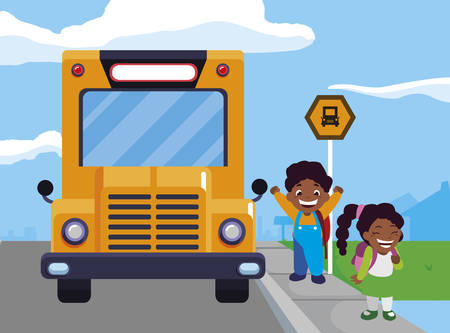 happy little black school kids in the bus stop vector illustration design Иллюстрация