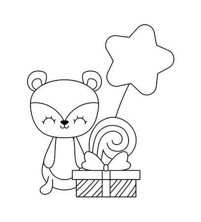 cute chipmunk with gift box and balloon air vector illustration design  イラスト・ベクター素材