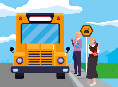 female teachers couple in stop bus characters vector illustration design