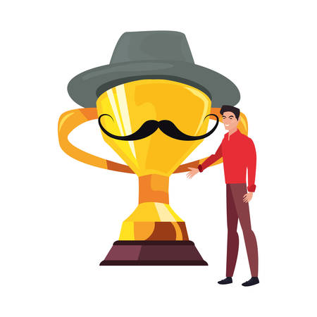 dad with award trophy hat mustache happy fathers day vector illustration