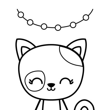 cute cat animal with garlands hanging vector illustration design