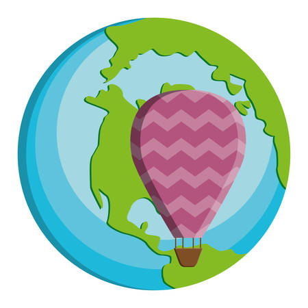 world planet earth with balloon air hot vector illustration design