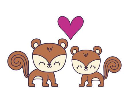 couple of cute chipmunk animal icon vector illustration design