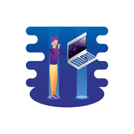 businessman worker with laptop computer vector illustration design
