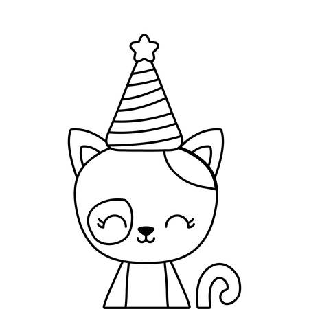 cute cat animal with hat party vector illustration design