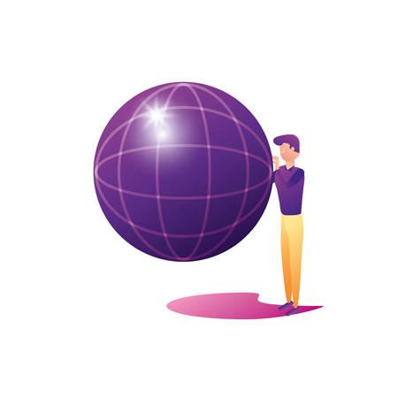 businessman worker with sphere browser vector illustration design