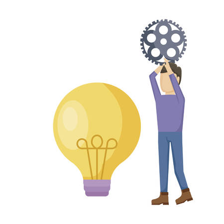 young man with gear pinion and light bulb vector illustration design