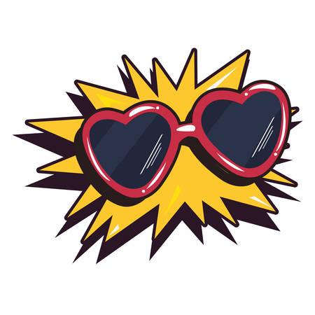glasses shape hearts pop art explosion vector illustration Illusztráció