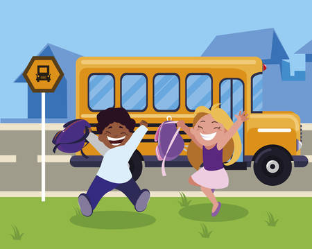 happy little interracial school kids in the bus stop vector illustration design Иллюстрация