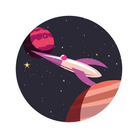 spaceship planets exploration astronomy vector illustration design