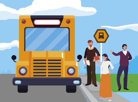 teachers group in the bus stop vector illustration design Иллюстрация