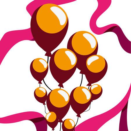 celebrating balloons ribbon decoration design vector illustration