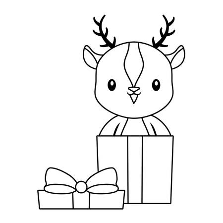 cute reindeer animal in gift box vector illustration design
