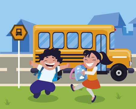 happy little school kids in the bus stop vector illustration design Standard-Bild - 130810681