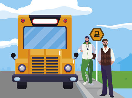 teachers classic and sports in stop bus vector illustration design Çizim