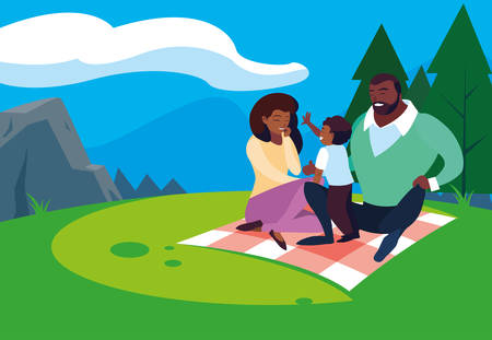afro parents with son family in landscape natural vector illustration design