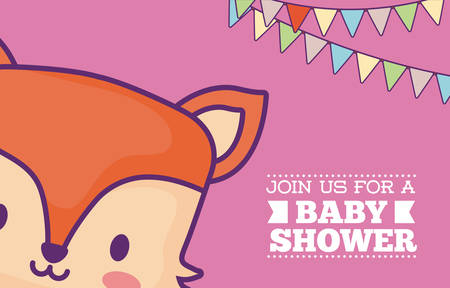 Baby shower invitation card with cute fox icon and decorative pennants over green background, colorful design. vector illustration