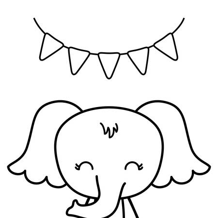 cute elephant animal with garlands hanging vector illustration design Çizim