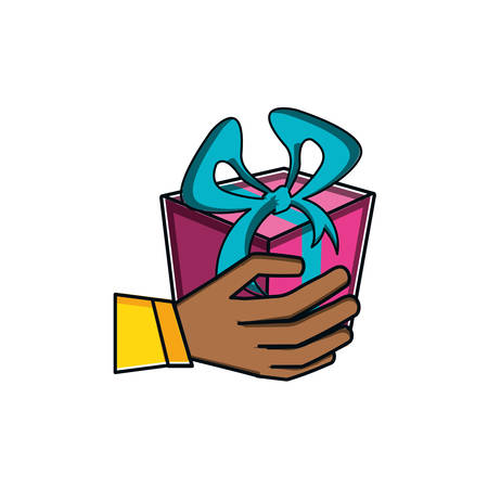hand with gift box present vector illustration design Çizim