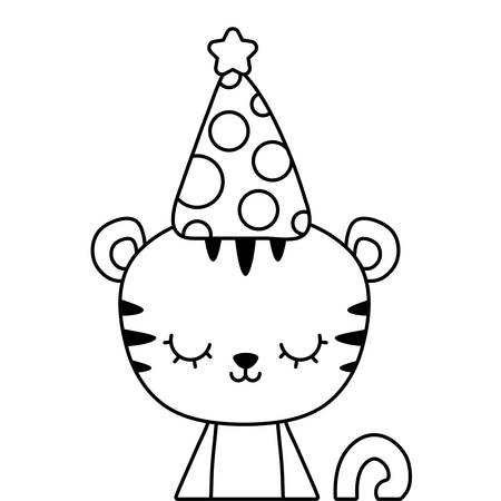 cute tiger animal with hat party vector illustration design Çizim