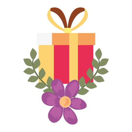 gift box flowers romantic vector illustration design image Иллюстрация