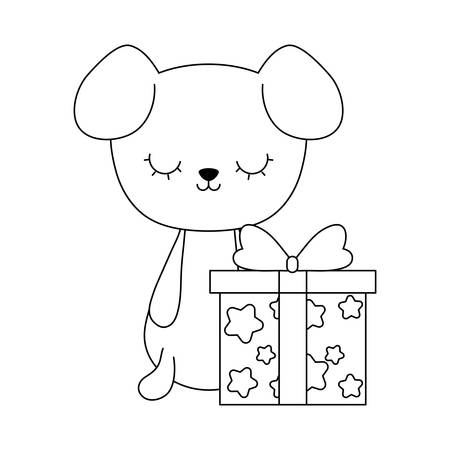 cute dog animal with gift box vector illustration design