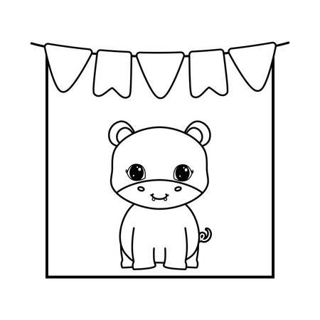 cute hippopotamus animal with garlands hanging vector illustration design