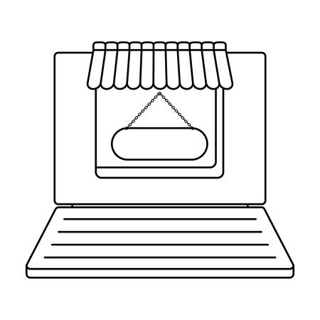 laptop computer with store facade vector illustration design  イラスト・ベクター素材