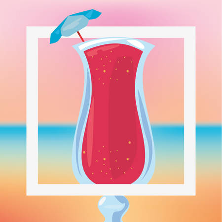 summer time holiday cocktail blur background vector illustration Stock Illustratie