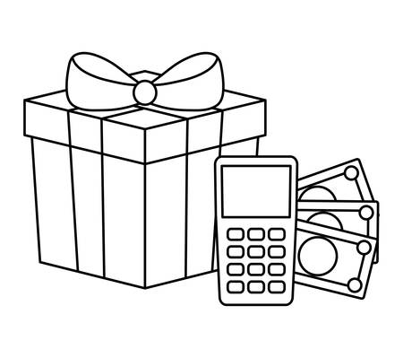 dataphone device with bills money and gift box vector illustration design