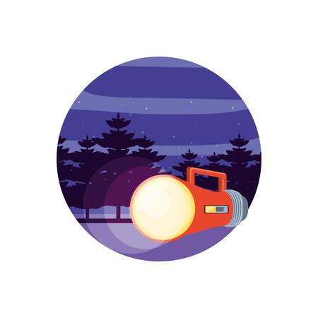 flashlight handle with landscape vector illustration design
