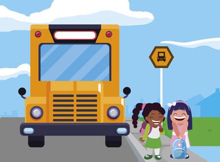 happy little interracial schoolgirls characters vector illustration design