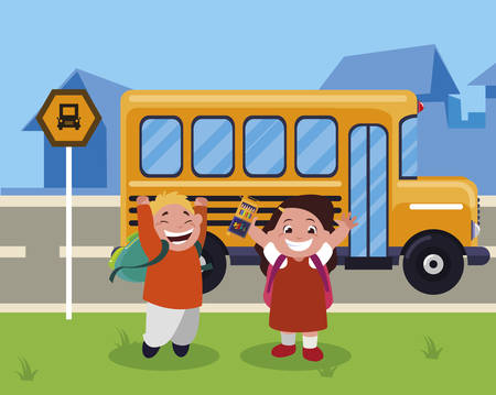 happy little school kids in the bus stop vector illustration design Çizim