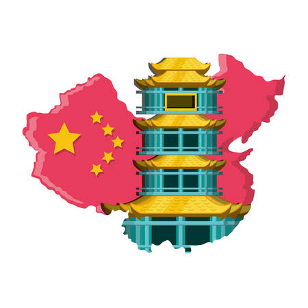 map china with building isolated icon vector illustration design