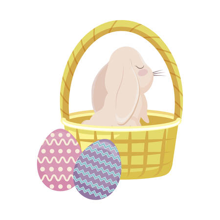 cute rabbit in basket wicker and eggs of easter vector illustration design Çizim
