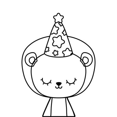 cute lion animal with hat party vector illustration design