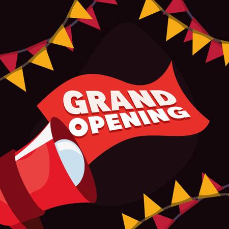 commercial grand opening speaker advertising vector illustration design