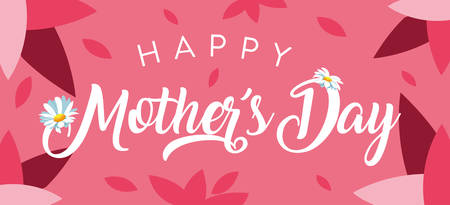 happy mother day card with petals and flowers vector illustration design