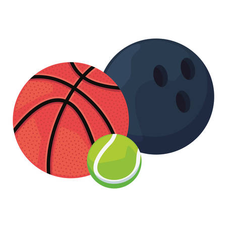 basketball bowling tennis ball sport vector illustration design