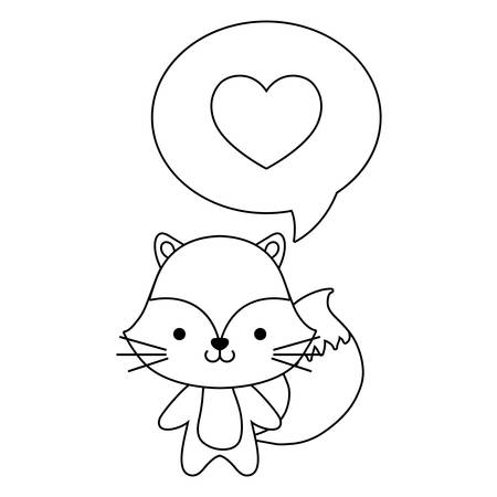 cute fox animal and speech bubble with heart vector illustration design