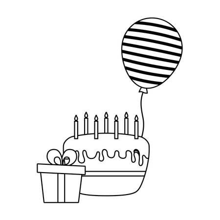 cake of birthday with gift box and balloon helium vector illustration design Иллюстрация