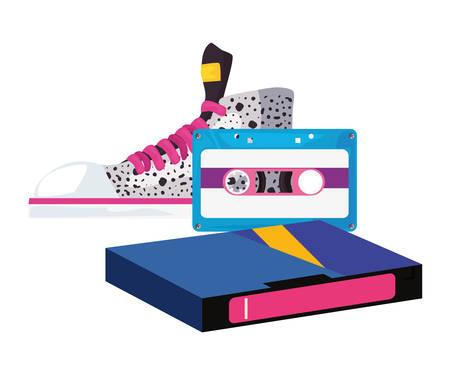 videotape beta music cassette sneaker retro 80s style vector illustration