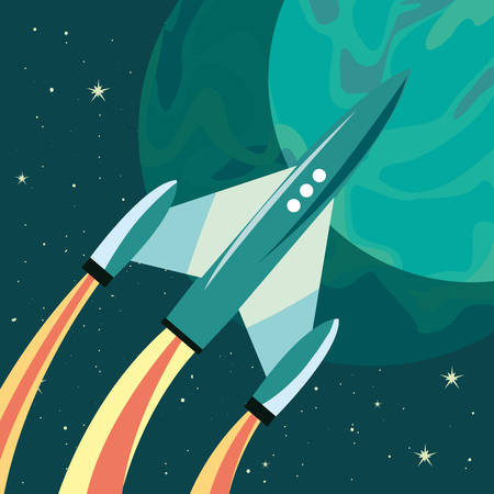 rocket planet space mission explore vector illustration design
